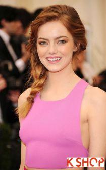 Tóc tết lệch vai đẹp dễ thương như Emma Stone