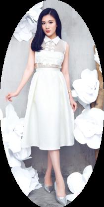 Váy dáng xòe cách điệu tuyệt đẹp với gam màu đen trắng